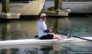 Jay Dean rowing on San Francisco Bay