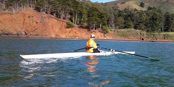 Marianne Dean rowing on San Francisco Bay
