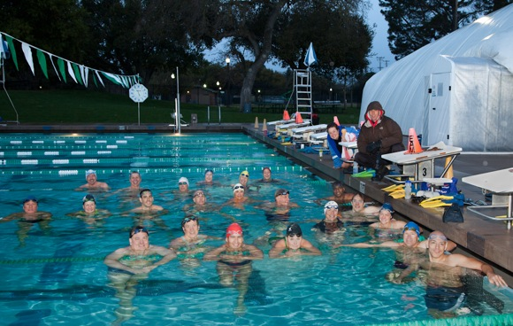Menlo Masters 7:00 am workout squad with Tim Sheeper at Burgess Pool