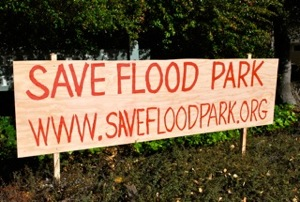 Save Flood Park efforts spread with signs, website, Facebook page