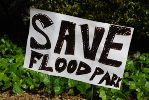 Save Flood Park sign