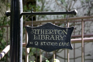 Atherton Library sign