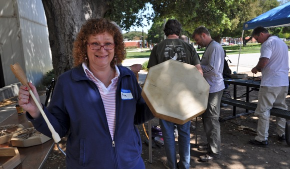Kim, a vet who participated in drum making workshop