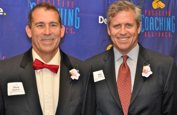 Menlo Atherton Little League coaches Doug Kaufman and Bob Crowe at Positive Coaching Alliance banquet