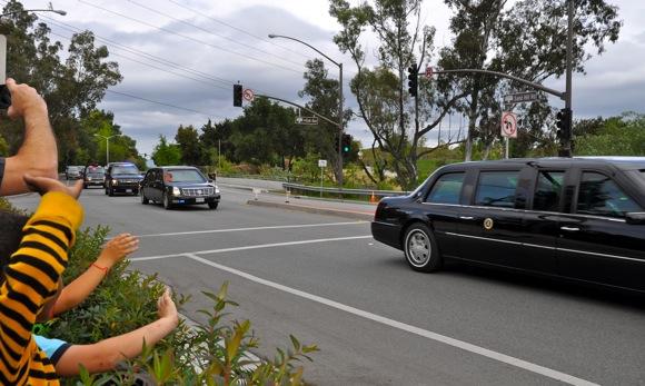 President Barack Obama's motorcade in Menlo Park