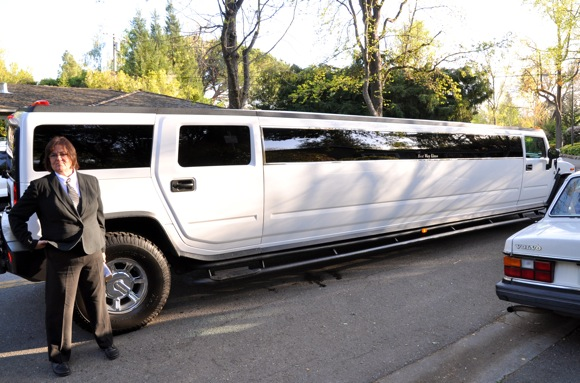 Limo waiting for prom goers in Menlo Park