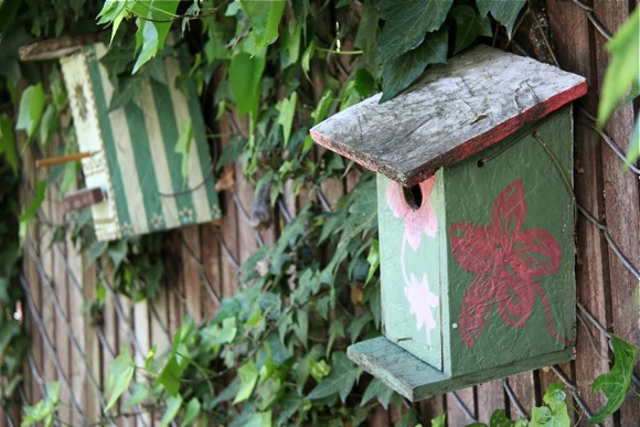 Birdhouses in secret garden at Atherton Library
