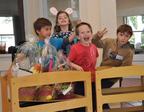 making Easter baskets at Trinity Church in Menlo Park