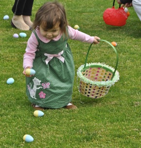 Egg hunt festivities at Burgess Park in Menlo Park
