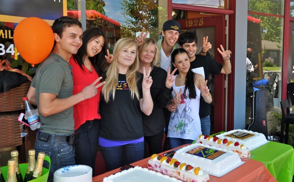 Owner Kathleen Daly and Cafe Zoe staff celebrate third anniversary