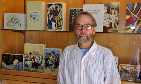 Artist Donald Wallace and his cereal box art
