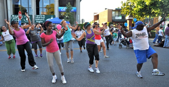 Zumba class demo at Menlo Park block party
