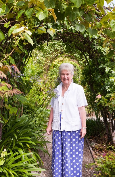 Joan Sanders in one of her gardens