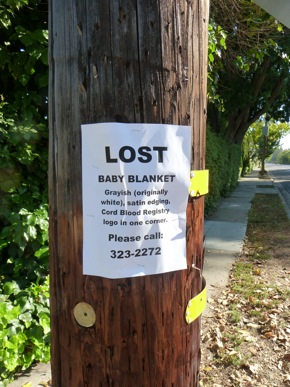 flyer seeking lost baby blanket