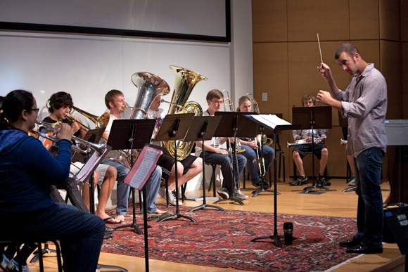 Adam Luftman teaching/conducting at the Summer Brass Institute at Menlo School