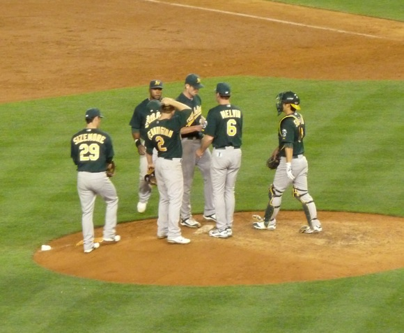 Bob Melvin (number 6) at Yankee Stadium on August 23, 2011