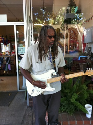 Claude Withers plays the blues in downtown Menlo Park