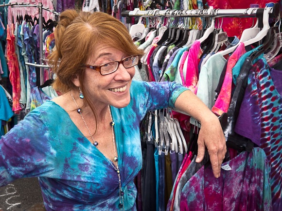 tie dye clothing maker Karen Ferguson of Menlo Park