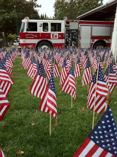 9/11 commerative flags in front of Menlo Park fire station