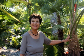 Edith Bergstrom in palm garden