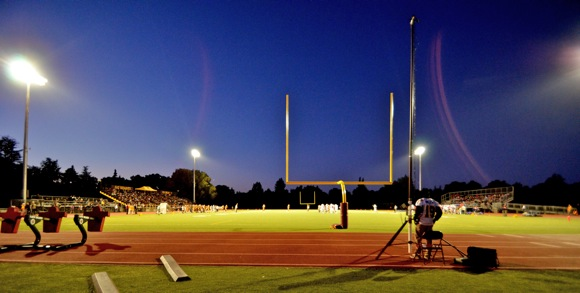 New field lights at Coach Parks Field, Menlo-Atherton High School