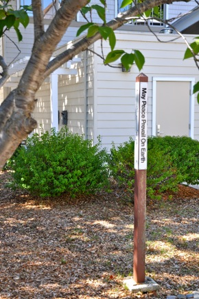 Peace pole at Trinity Church in Menlo Park