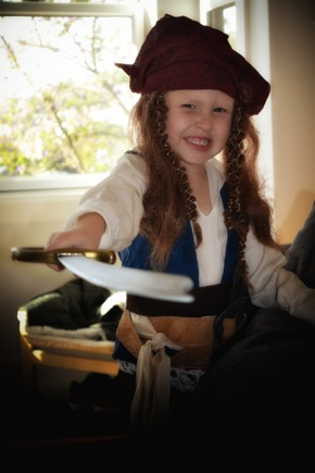 child in pirate Halloween costume