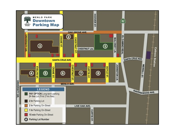 map of new downtown Menlo Park parking lots