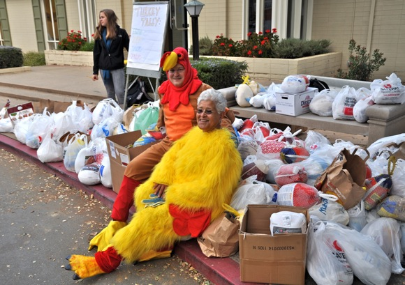 James Everett and Emily Corpos at Sacred Heart Prep turkey drive