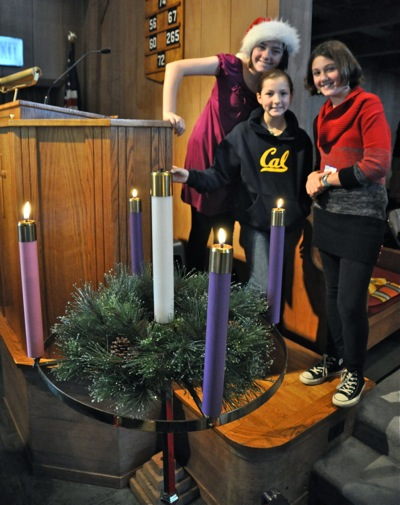 girls with Advent wreath at Trinity Church in Menlo Park