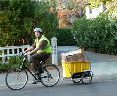 UPS bike delivery person in Menlo Park