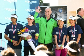 Andre Agassi with Menlo Park junior player Elena Van Linge