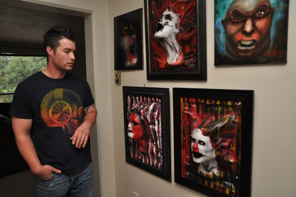 Artist Aaron Molinsky and his paintings