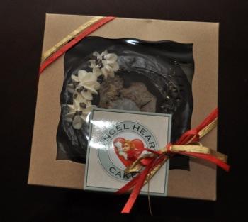 Angel Heart Cake with 49er ribbon