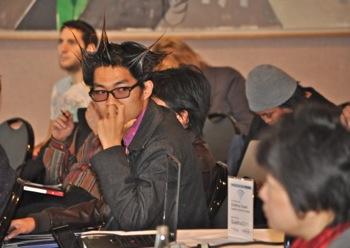 Attendee at Facebook marketing seminar at Quadrus in Menlo Park