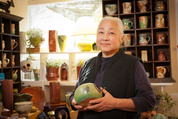 Potter Joy Imai at her studio in at the Allied Arts Guild in Menlo Park