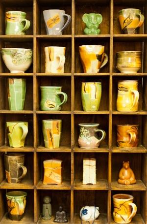 pottery at Joy Imai's gallery in Menlo Park
