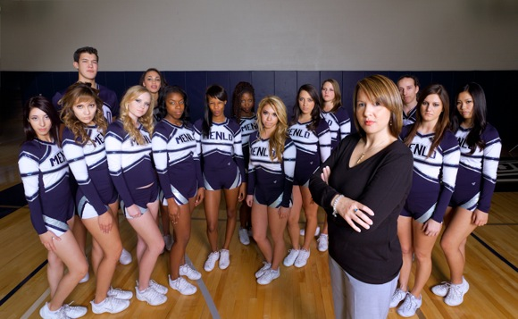 Menlo College competitive cheer team and coach Kezia Molinsky