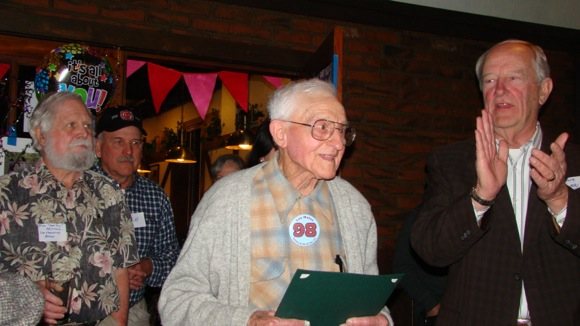 Lou Matas celebrating his 98th birthday