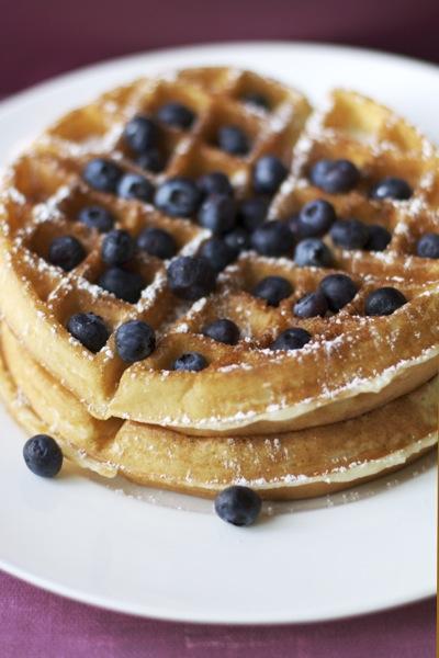 Belgian waffle photographed by Rachel Candelaria