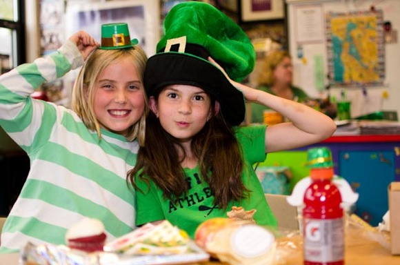 students celebrate Leprechaun Lunch