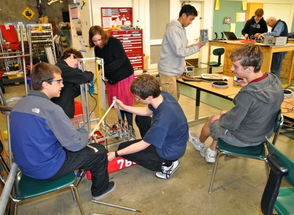 M-A Bears robotic team members prepare for competition