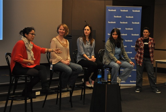 Facebook female engineers talk to high school students