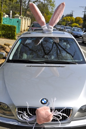 BMW dressed like a bunny on Santa Cruz Ave. in Menlo Park
