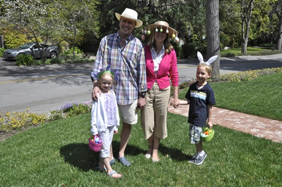 Menlo Park family wearing Easter theme hats