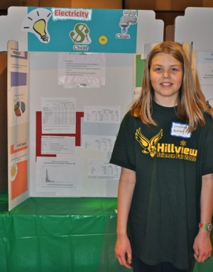 Hillview School science fair participant