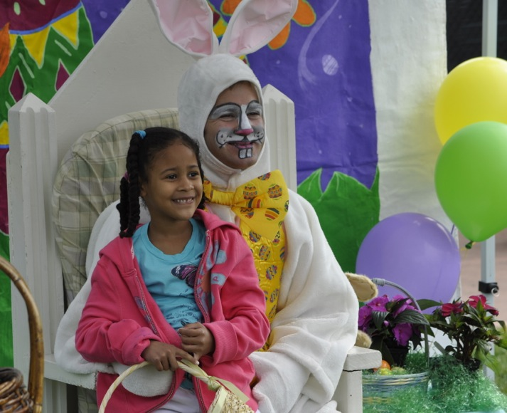 Girl with Easter bunny in Menlo Park