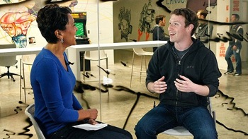 Facebook founder Mark Zuckerberg with ABC news' Robin Roberts