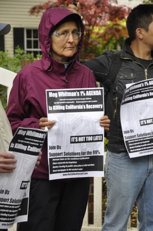 Protesters speak out for the 99% in front of Meg Whitman's Atherton home