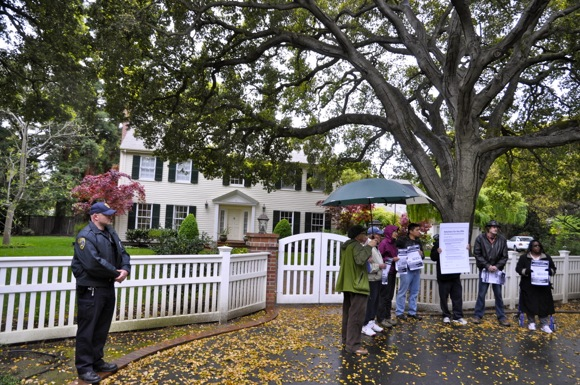 protesters in front of Meg Whitman's Atherton home